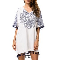 Zhhlinyuan ファッション Women Casual Floral Pattern Loose Dress Sunscreen Seaside Dress with Tassel