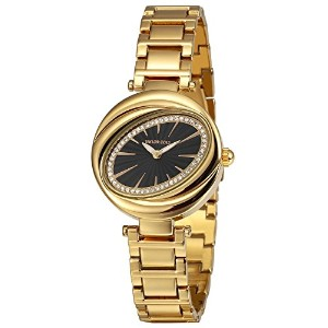 Taylor Cole Aglaia Seriese Ladies ' Wrist Watch花びらInspired Oval Dialステンレススチール ゴールドブラック