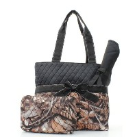Natural Camo Quilted Diaper Bag by NGIL