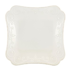 Lenox French Perle Square Dinner Plate, White by Lenox
