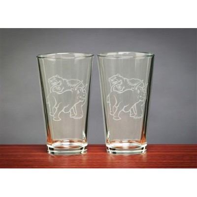 Fighting Bull & Bear Beer Glasses 16 ozの2つのセット – Stock Market