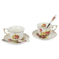 Porcelain Tea Cup and Saucerコーヒーカップセットwith Saucer andスプーン、2のセット