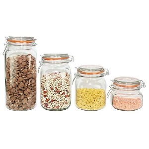 ChefLand Food Storage CanisterガラスJar Set with HermesロッククランプTop密封蓋、クリア、4のセット