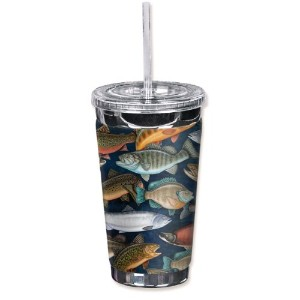 "Mugzie 1212-tgc "" Fresh Water Fish "" to go Tumbler with Insulatedウェットスーツカバー、16オンス、ブラック"
