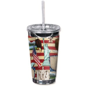 "Mugzie 1013-tgc "" Americana "" to go Tumbler with Insulatedウェットスーツカバー、16オンス、ブラック"