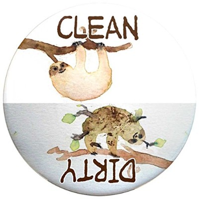 Buttonsmith® Clean-Dirty 食器洗浄機用マグネット ブラウン PRE-Mag225-CleanDirty-Sloths