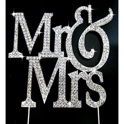 Real Rhinestone Silver Mr & Mrs Block Cake Topper Wedding & Special Events by Forbes Favors