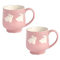 Springtime / Easter BunniesピンクBeverage Mugs – セットof 2