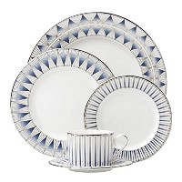 Lenox 869065 5 Piece Geodesia Place Setting食器セット、ブルー