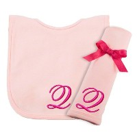 Princess Linens Embroidered Cotton Knit Bib and Burp Set - Pink, Q by Princess Linens