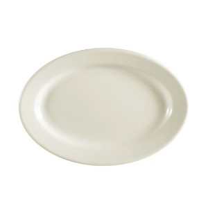 CAC中国Rolled EdgeホワイトOval Platter 10-3/8 by 7-1/8-Inch ホワイト REC-12