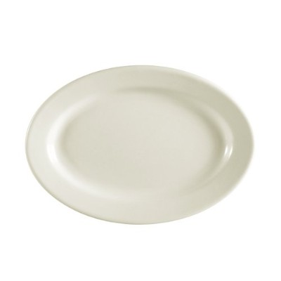 CAC China REC-34 Rolled Edge 9-3/8 by 6-1/4-Inch Stoneware Oval Platter, American White, Box of 24...