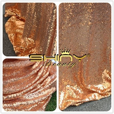 Rose Gold Sequin Table Cloth, Shimmer Sparkly Overlays Tablecloths for Wedding (48''x72'') by...