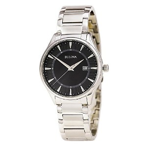 ブローバ Bulova 96B184 Men's Stainless Steel Black Quartz Watch [並行輸入品]