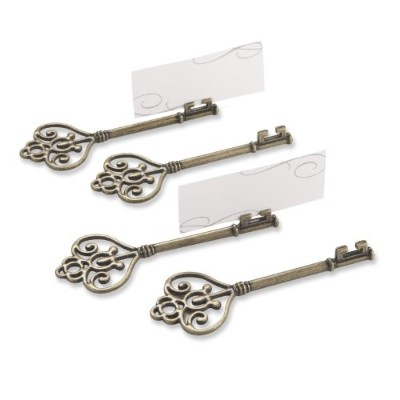 (1, Key To My Heart) - Kate Aspen Set of 4 Victorian Style Key Place Card Holder, Key To My Heart