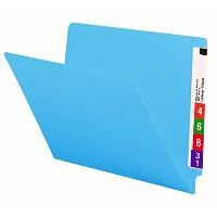 Colored File Folders, Straight Cut, Reinforced End Tab, Letter, Blue, 100/Box (並行輸入品)