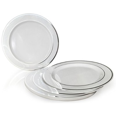 OCCASIONS Disposable Plastic Plates, White w/ Silver trim (120 pieces, 7.5'' salad/dessert plate)...