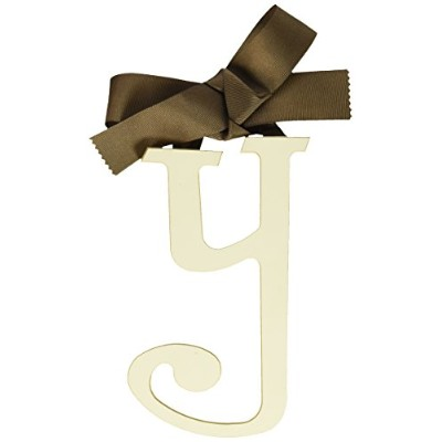 New Arrivals Wooden Letter Y with Solid Brown Ribbon, Cream by New Arrivals
