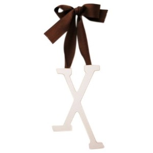 New Arrivals Wooden Letter X with Solid Brown Ribbon, Cream by New Arrivals