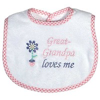 Dee Givens & Co-Raindrops 6738 Great-Grandpa Loves Me Small Bib - Pink