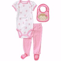 Carters Baby-girls Pink Lil Monkey 3 Piece Bib, Footie Size: 6-9 mth by Carters?