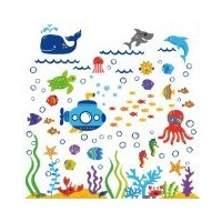 The Deep Blue Sea Decorative Peel & Stick Wall Art Sticker Decals by CherryCreek Decals