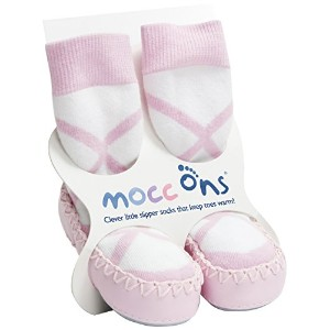 BALLERINA BABY MOCCASINS-MOCC ONS LEATHER SOLED SHOES/SLIPPERS - pink