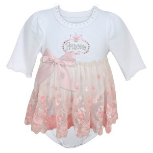 Stephan Baby Angels in Lace Pink Princess All-in-One Lace Trimmed Diaper Cover with Embroidered and...
