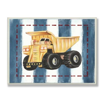 The Kids Room by Stupell Dump Truck on Blue Stripes Rectangle Wall Plaque by The Kids Room by Stupell