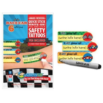 Quick Stick Write-on! Child ID Tattoos (Race Car) by SafetyTat LLC