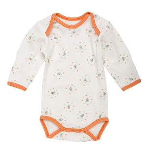 Under the Nile Organic Long Sleeve Bodysuit (0-3 Months, Skye/Coral Print) by Under the Nile