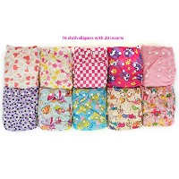 Pocket Cloth Diapers with 20 Inserts (2 Inserts Per Diaper)-girl by Happy Flute