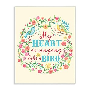 The Kids Room by Stupell My Heart is Singing Like a Bird Floral Graphic Art Wall Plaque by The Kids...