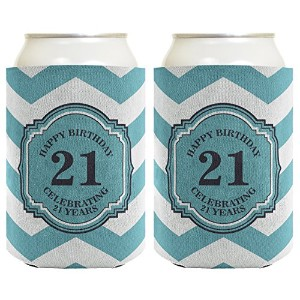 21st Birthday Gifts For All Beer Coolie Celebrating 21 Years Chevron Can Coolie Drink Coolers Coolies Premium Full Color by Birthday Gifts For All