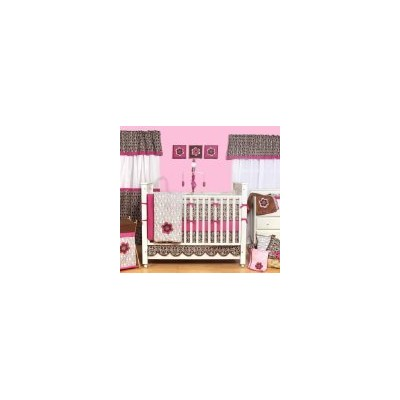 Damask Pink/Choc 9pc Crib Set by Bacati