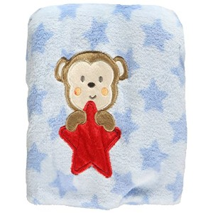 Baby Starters Monkey Star Plush Blanket - blue, one size by Baby Starters