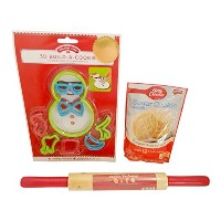 3 PC Snowman Cookie bundle-sugar Cookie Mix、木製ローリングピンと8pc 3d Snowman Cookie Cutters