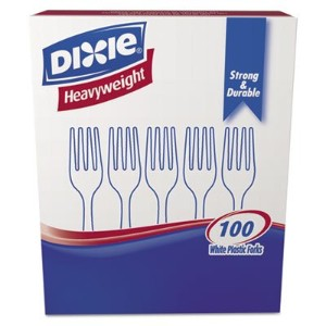 Plastic Cutlery, Heavyweight Forks, White, 100/Box, Sold as 2 Box, 100 Each per Box by Dixie