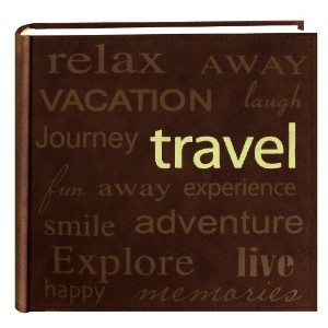 Pioneer Travel Text Design Sewn Faux Suede Cover Photo Album, Brown by Pioneer Photo Albums