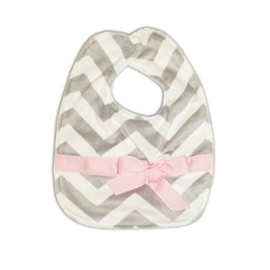 Caught Ya Lookin' Reversible Baby Bib, Grey and White Chevron with Light Pink Ribbon by Caught Ya Lookin'