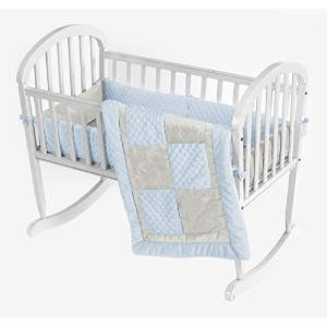 Baby Doll Croco Minky Cradle Bedding Set, Blue/Ivory by BabyDoll Bedding