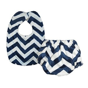 Caught Ya Lookin' Bib and Bloomer Set, Navy and White Chevron by Caught Ya Lookin'