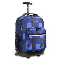 J World New York Sunrise Rolling Backpack ブルー チェック