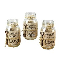 Young's Mason Jar Candle with Burlap Wrap 3 Assorted Set, 7' [並行輸入品]