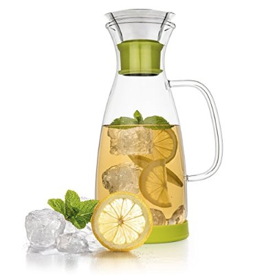 Tealyra 40 Oz Glass Drip-free Carafe Pitcher w/ Stainless Steel Flip-top Lid - Hot & Cold Water -...