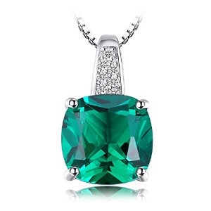 JewelryPalace 3.36ct クッション 5月 誕生石 人工 ナノ エメラルド ネックレス ペンダント スターリング シルバー 925 チェーン 45cm