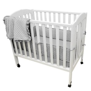 TL Care Heavenly Soft Minky Dot 3 Piece Mini Crib Set, Gray by TL Care