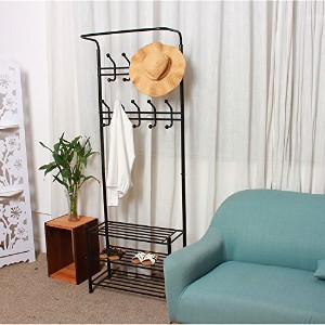 Metal Hat and coat Stand clothes Shoes Steel Pipe Stands Rack Hanger Hooks Shelf (White) by E...