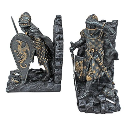 Design Toscano Arthurian Knight Bookend in Two-Tone Metallic (Set of 2) by Design Toscano