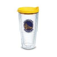 "Tervis 1051629 "" NBA golden St Warriors "" Tumbler withイエロー蓋、エンブレム、24オンス、クリア"
